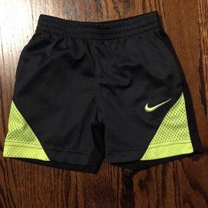 Boys Black Nike Shorts with Green Logo Size 3T